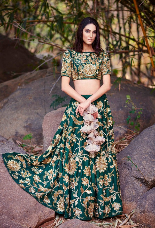Green Color Beautiful Attractive Designer Bridal Lehenga-Bridal Lehenga Store CME055