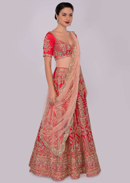 Red Color Attractive Designer Beautiful Bridal Lehenga-Bridal Lehenga Store CMB035