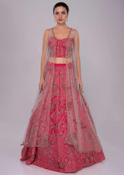 Hot pink Color Attractive Designer Beautiful Bridal Lehenga-Bridal Lehenga Store CMB012