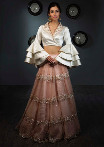 Baby Pink Color Attractive Designer Beautiful Bridal Lehenga-Bridal Lehenga Store CMB003