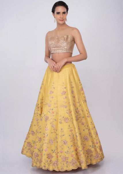 Yellow Color Attractive Designer Beautiful Bridal Lehenga-Bridal Lehenga Store CMB048
