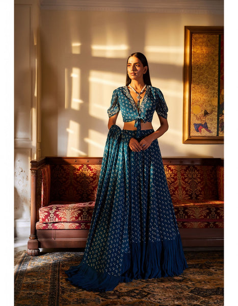Teal Blue Color Sequins Embroidered Bridal Lehenga-Bridal Lehenga Store CME115