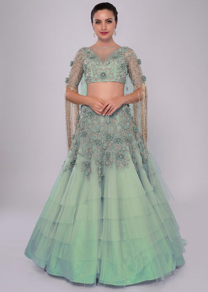 Mint Color Attractive Designer Beautiful Bridal Lehenga-Bridal Lehenga Store CMB021