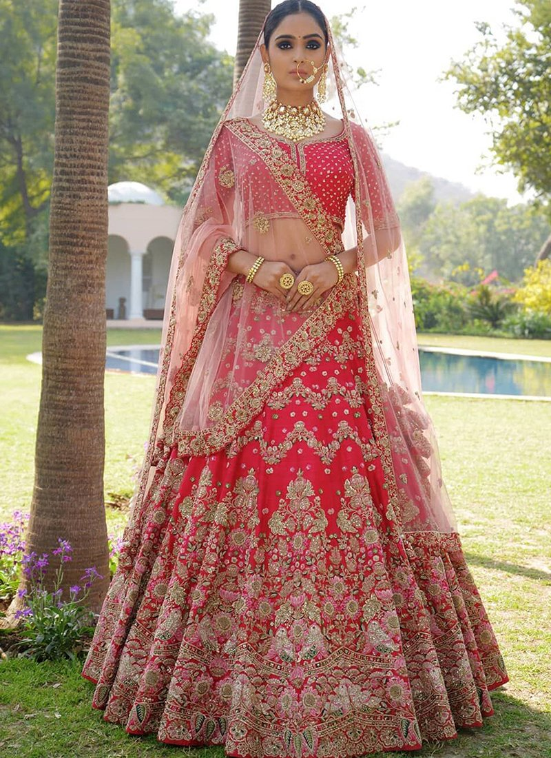 Exclusive Heavy Designer Beautiful Red Bridal Lehenga Choli - Stylizone