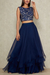 A103 Navy Blue Color Beautiful Designer Bridal Lehenga-Bridal Lehenga Store CME077