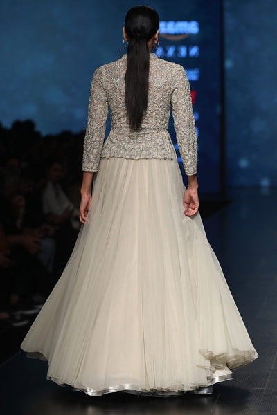 Exclusive Designer Pale beige lehenga skirt with beaded peplum-Bridal Lehenga Store