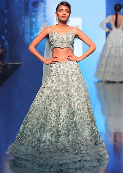 Ice Blue Color Attractive Designer Beautiful Bridal Lehenga-Bridal Lehenga Store CMB013