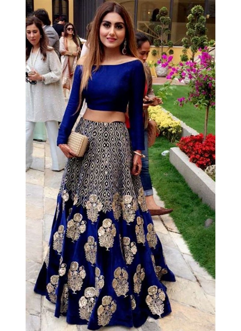 Exclusive Heavy Designer Beautiful Royal Blue Party Wear Lehenga Choli - Stylizone