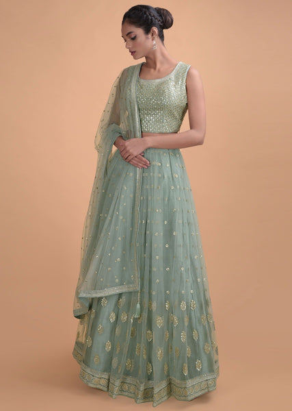 Green Color Beautiful Attractive Designer Bridal Lehenga-Bridal Lehenga Store CME056