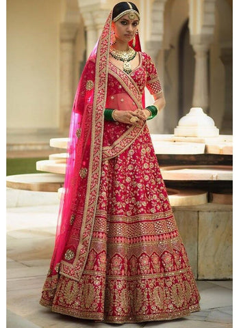 A132-Exclusive Heavy Designer Beautiful Pink Color Bridal Lehenga Choli - Stylizone
