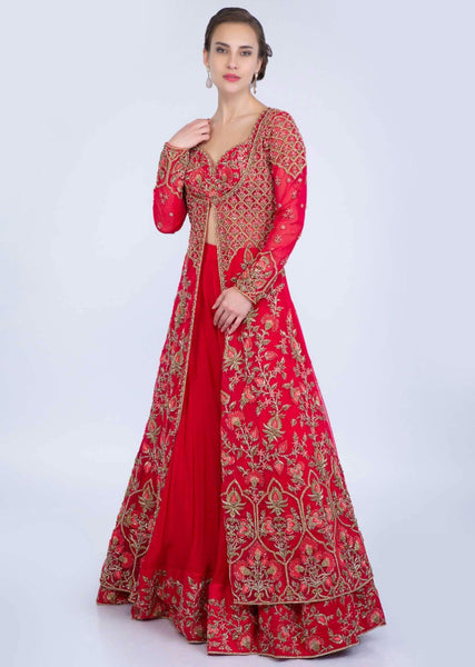Red Color Attractive Designer Beautiful Bridal Lehenga-Bridal Lehenga Store CMB036