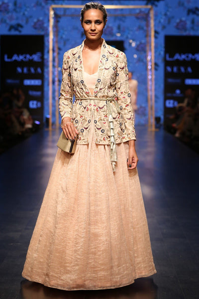 Exclusive Designer Blush embroidered jacket with skirt set-Bridal Lehenga Store