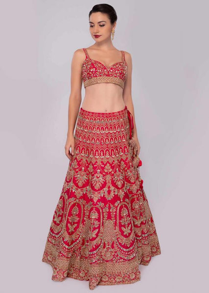 Red Color Attractive Designer Beautiful Bridal Lehenga-Bridal Lehenga Store CMB037
