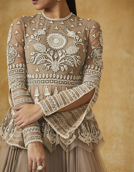 Kalidar Lehenga With Embroidered Peplum Blouse-Bridal Lehenga Store