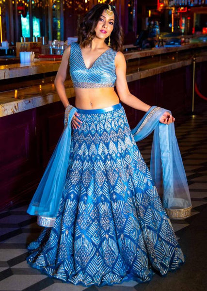 Blue Color Attractive Designer Beautiful Bridal Lehenga-Bridal Lehenga Store CMB008