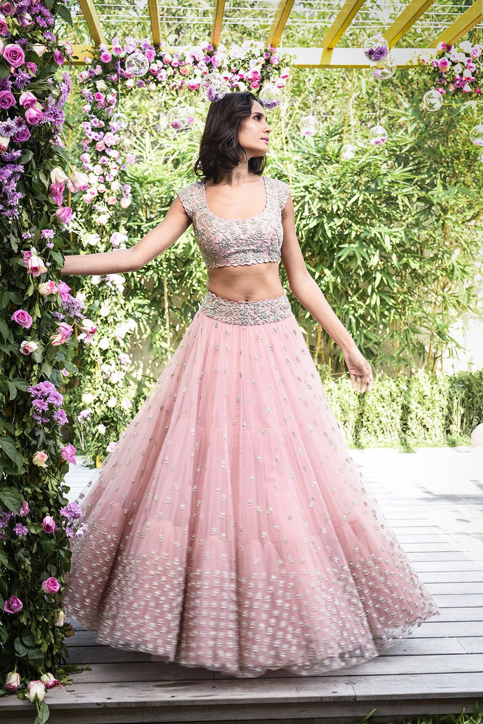 Beautiful Designer Baby Pink Color Party Wear Lehenga Choli-Bridal Lehenga Store