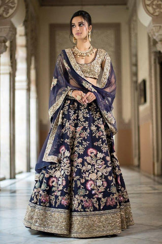 Beautiful Exclusive Designe Blue Color Bridal Lehenga Choli-Bridal Lehenga Store