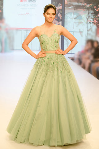 Green Color Beautiful Exclusive Designer Party Wear Dress CMD015