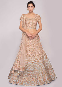 Peach Color Attractive Designer Beautiful Bridal Lehenga-Bridal Lehenga Store CMB023