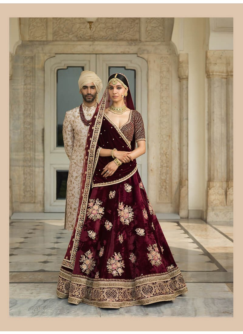 Exclusive Heavy Designer Beautiful Wine Color Bridal Lehenga Choli - Stylizone