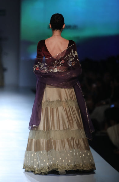 Beautiful Designer Olive And Wine Color Lehenga Choli-Bridal Lehenga Store
