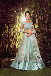 Exclusive Heavy Designer Beautiful Sky Blue color Lehenga Choli-Bridal Lehenga Store