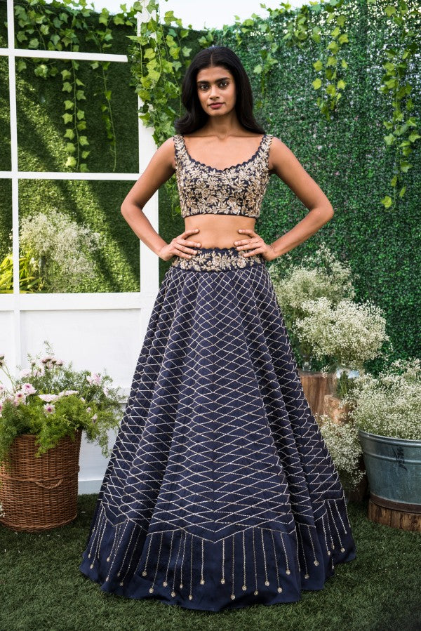 A103 Navy Blue Color Beautiful Attractive Designer Bridal Lehenga-Bridal Lehenga Store CME075