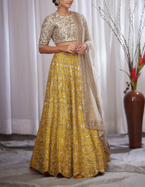 Yellow Color Exclusive Designer Bridal Lehenga-Bridal Lehenga Store CME121