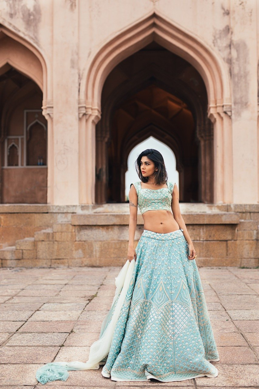 Exclusive Designer Beautiful Sky Blue Color Bridal Lehenga Choli-Bridal Lehenga Store