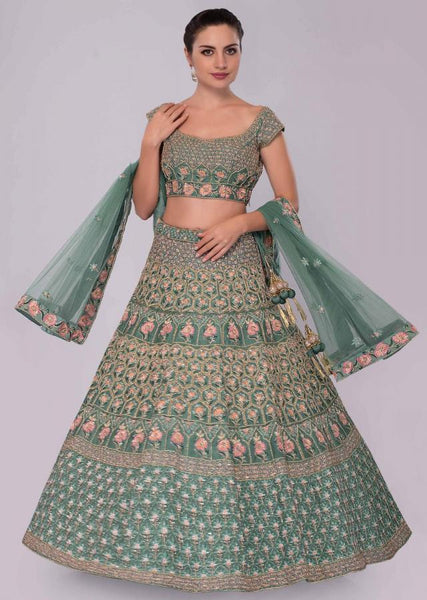 Tropic Color Attractive Designer Beautiful Bridal Lehenga-Bridal Lehenga Store CMB043