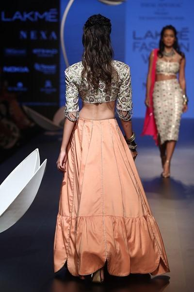 Exclusive Designer Peach lehenga skirt with blouse-Bridal Lehenga Store