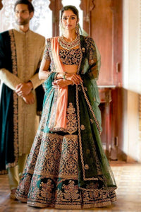 Beautiful Exclusive Designe Green Color Bridal Lehenga Choli-Bridal Lehenga Store