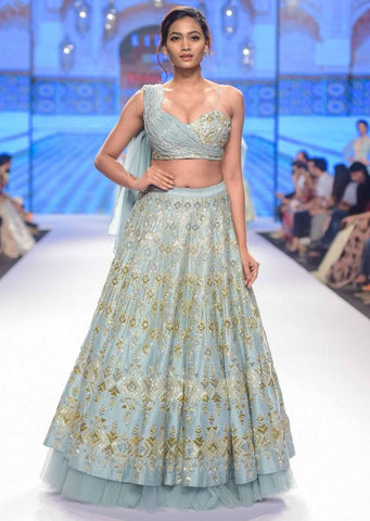 Baby Blue Color Attractive Designer Beautiful Bridal Lehenga-Bridal Lehenga Store CMB002