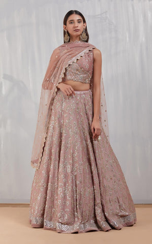 Baby Pink Color Embroidery Work Bridal Lehenga-Bridal Lehenga Store CME020