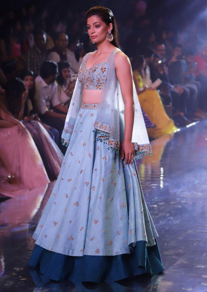 Sky Blue Color Beautiful Designer Embroidered Work Bridal Lehenga-Bridal Lehenga Store CME112