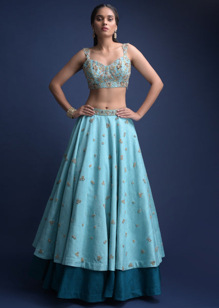 Blue Color Attractive Designer Beautiful Bridal Lehenga-Bridal Lehenga Store CMB007