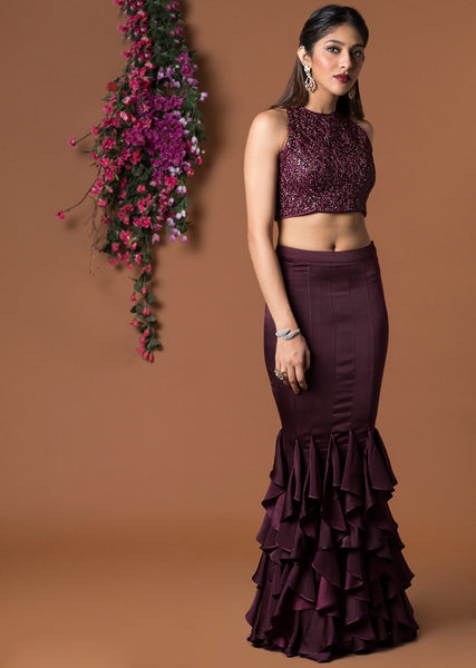 Wine Color Beautiful Attractive Designer Bridal Lehenga-Bridal Lehenga Store CME116