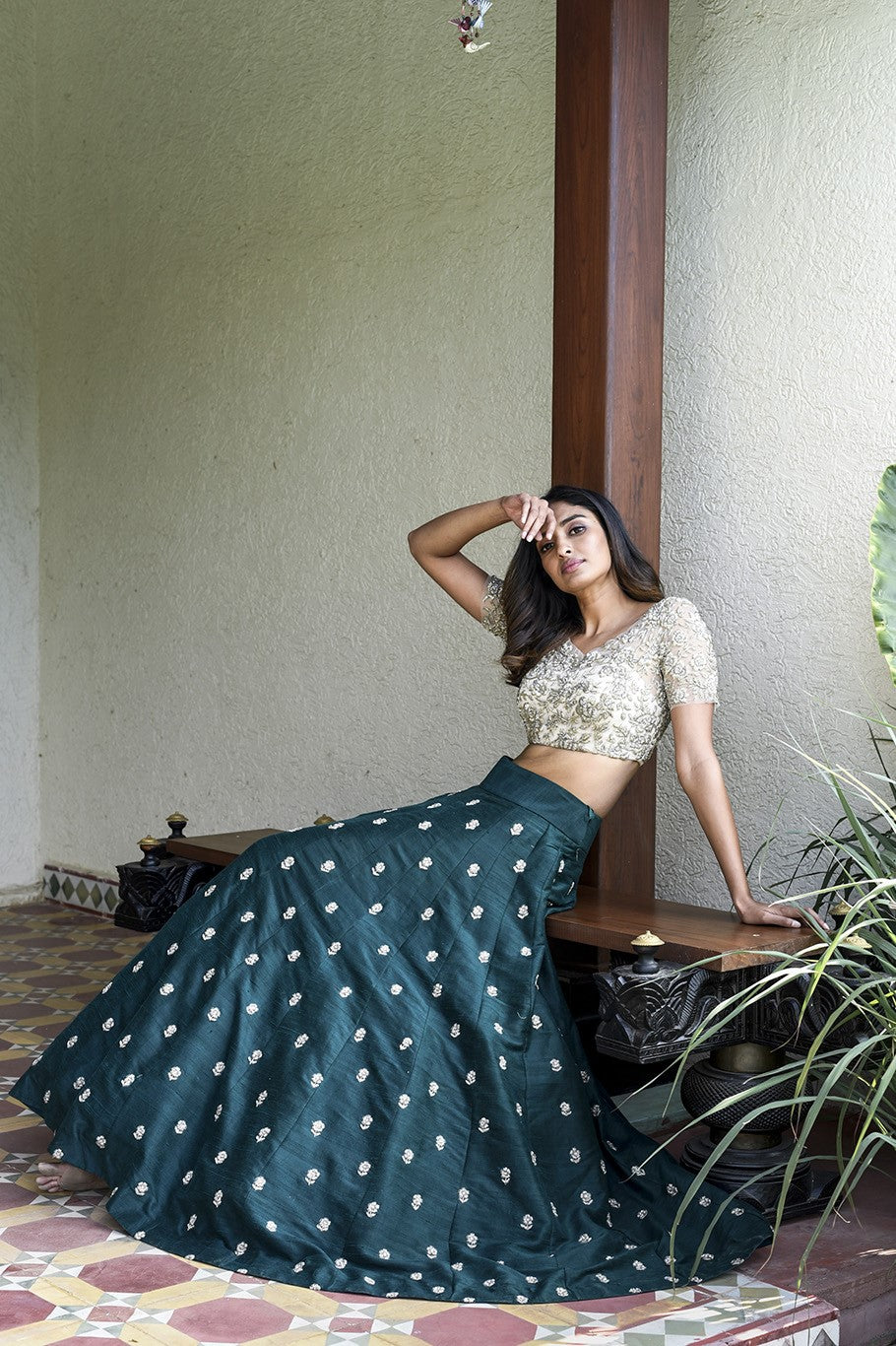 Beautiful Designer Leaf Green Color Shade Party Wear Lehenga Choli-Bridal Lehenga Store