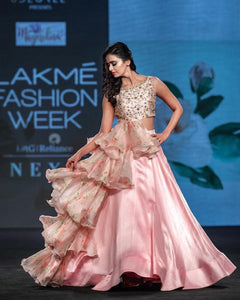 Elegantly Designed ruffle blouse and lehenga CMN043