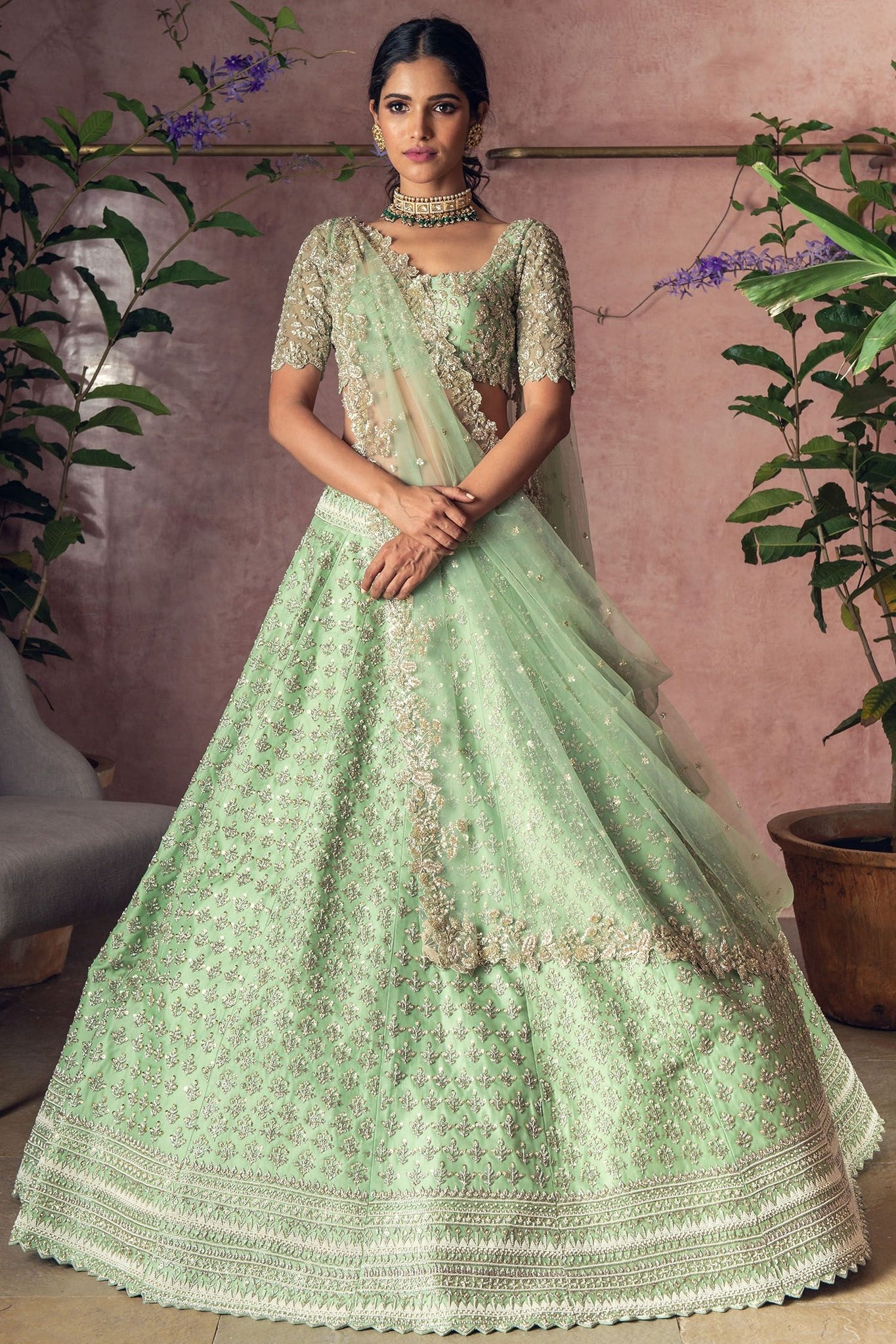 Palegreen Color Attractive Designer Beautiful Bridal Lehenga-Bridal Lehenga Store CMB059