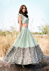 Green Color Attractive Designer Beautiful Bridal Lehenga-Bridal Lehenga Store CME051