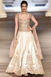 Exclusive Heavy Designer Beautiful Cream color Lehenga Choli-Bridal Lehenga Store
