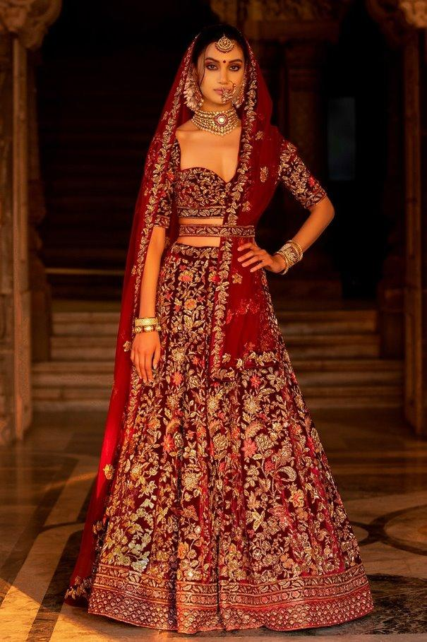 Beautiful Exclusive Designe Maroon Color Bridal Lehenga Choli-Bridal Lehenga Store