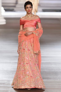 Exclusive Heavy Designer Beautiful Peach color Lehenga Choli-Bridal Lehenga Store