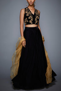 A103 Black Color Beautiful Attractive Designer Bridal Lehenga-Bridal Lehenga Store CME032
