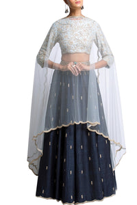 105 Black Beautiful Designer Blue Color Party Wear Lehenga Choli-Bridal Lehenga Store CMH059