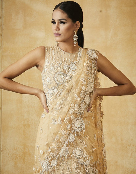Kalidar Lehenga With Embroidered Bodysuit-Bridal Lehenga Store