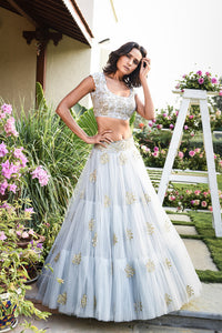 Beautiful Designer Blue Color Party Wear Lehenga Choli-Bridal Lehenga Store