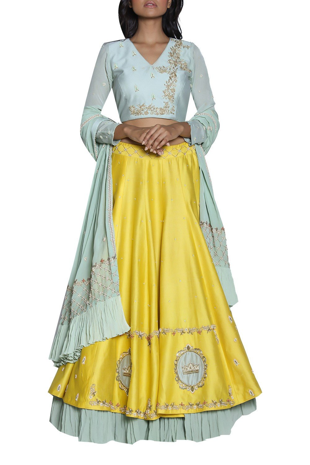 Exclusive Designer Yellow hand embroidered lehenga set-Bridal Lehenga Store