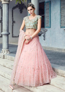 Baby Pink Color Beautiful Attractive Designer Bridal Lehenga-Bridal Lehenga Store CME011